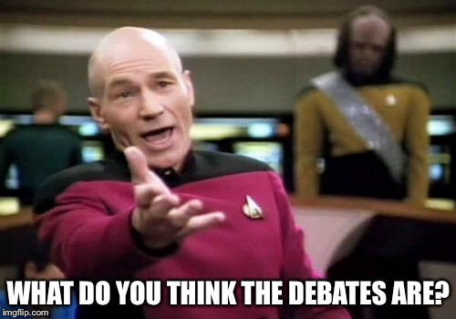 Picard Wtf Meme | WHAT DO YOU THINK THE DEBATES ARE? | image tagged in memes,picard wtf | made w/ Imgflip meme maker