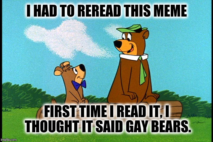 I HAD TO REREAD THIS MEME FIRST TIME I READ IT, I THOUGHT IT SAID GAY BEARS. | made w/ Imgflip meme maker