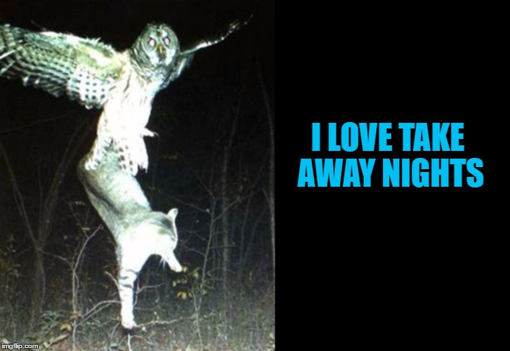 I LOVE TAKE AWAY NIGHTS | made w/ Imgflip meme maker
