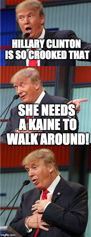 Bad Pun Trump | HILLARY CLINTON IS SO CROOKED THAT SHE NEEDS A KAINE TO WALK AROUND! | image tagged in bad pun trump,hillary clinton | made w/ Imgflip meme maker