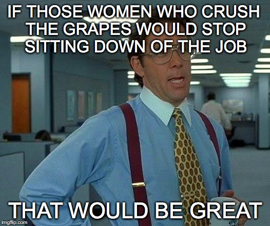 That Would Be Great Meme | IF THOSE WOMEN WHO CRUSH THE GRAPES WOULD STOP SITTING DOWN OF THE JOB THAT WOULD BE GREAT | image tagged in memes,that would be great | made w/ Imgflip meme maker