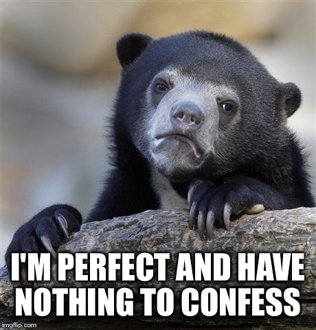 If only life was this perfect.  | I'M PERFECT AND HAVE NOTHING TO CONFESS | image tagged in memes,confession bear | made w/ Imgflip meme maker
