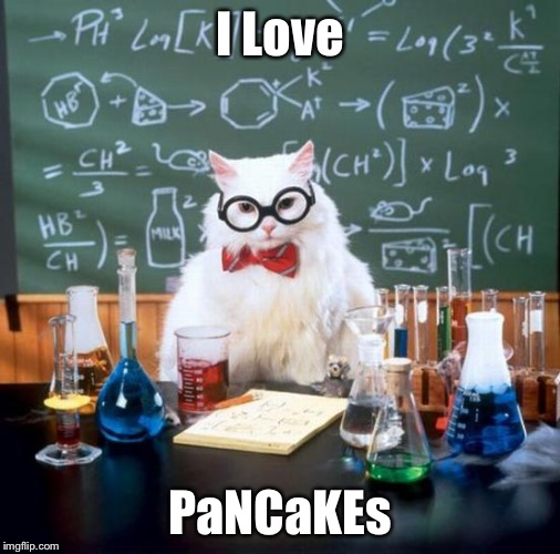 Chemistry Cat | I Love PaNCaKEs | image tagged in memes,chemistry cat | made w/ Imgflip meme maker