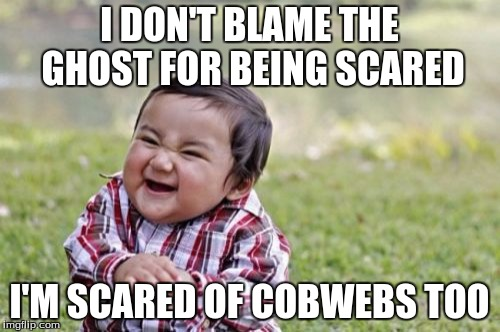 Evil Toddler Meme | I DON'T BLAME THE GHOST FOR BEING SCARED I'M SCARED OF COBWEBS TOO | image tagged in memes,evil toddler | made w/ Imgflip meme maker