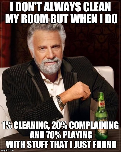 The Most Interesting Man In The World Meme | I DON'T ALWAYS CLEAN MY ROOM BUT WHEN I DO 1% CLEANING, 20% COMPLAINING AND 70% PLAYING WITH STUFF THAT I JUST FOUND | image tagged in memes,the most interesting man in the world | made w/ Imgflip meme maker