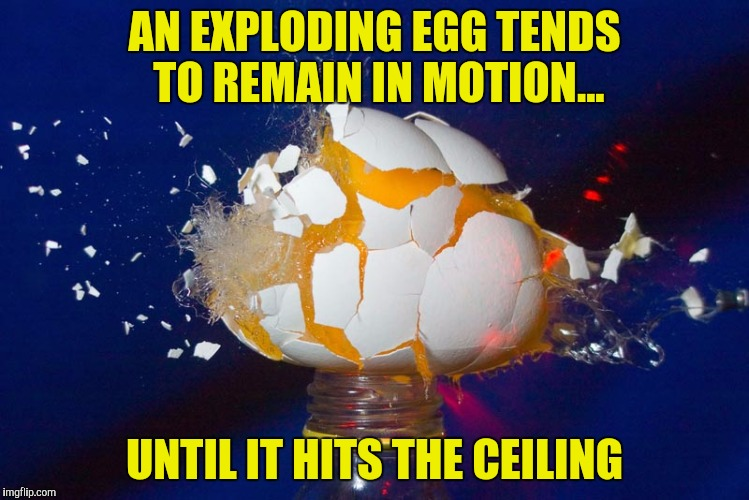 AN EXPLODING EGG TENDS TO REMAIN IN MOTION... UNTIL IT HITS THE CEILING | made w/ Imgflip meme maker