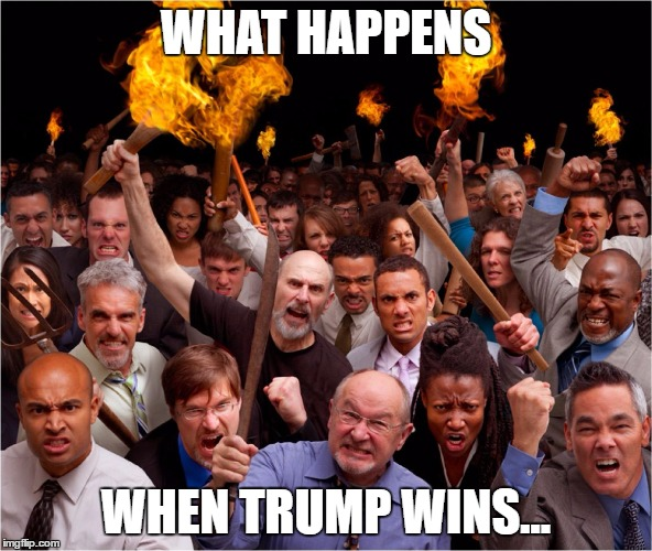 Angry mob | WHAT HAPPENS WHEN TRUMP WINS... | image tagged in angry mob | made w/ Imgflip meme maker