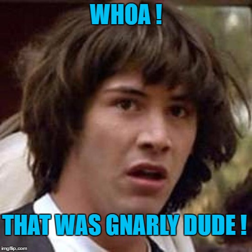 Conspiracy Keanu Meme | WHOA ! THAT WAS GNARLY DUDE ! | image tagged in memes,conspiracy keanu | made w/ Imgflip meme maker
