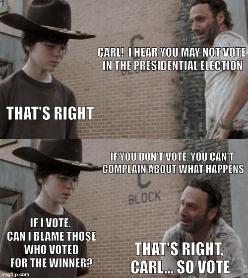 vote to preserve your right to whine | CARL!  I HEAR YOU MAY NOT VOTE IN THE PRESIDENTIAL ELECTION THAT'S RIGHT IF YOU DON'T VOTE, YOU CAN'T COMPLAIN ABOUT WHAT HAPPENS IF I VOTE, | image tagged in memes,rick and carl,vote,2016 | made w/ Imgflip meme maker