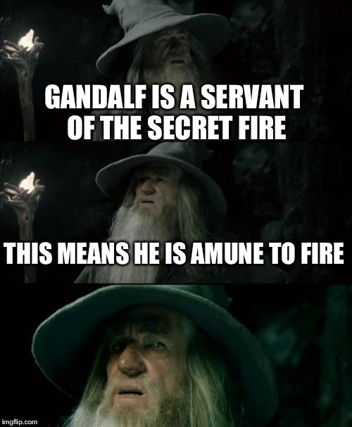 Confused Gandalf Meme | GANDALF IS A SERVANT OF THE SECRET FIRE THIS MEANS HE IS AMUNE TO FIRE | image tagged in memes,confused gandalf | made w/ Imgflip meme maker