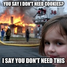 YOU SAY I DON'T NEED COOKIES? I SAY YOU DON'T NEED THIS | image tagged in funny | made w/ Imgflip meme maker