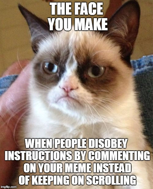 Grumpy Cat Meme | THE FACE YOU MAKE WHEN PEOPLE DISOBEY INSTRUCTIONS BY COMMENTING ON YOUR MEME INSTEAD OF KEEPING ON SCROLLING | image tagged in memes,grumpy cat | made w/ Imgflip meme maker