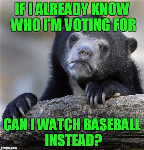 Confession Bear Meme | IF I ALREADY KNOW WHO I'M VOTING FOR CAN I WATCH BASEBALL INSTEAD? | image tagged in memes,confession bear | made w/ Imgflip meme maker