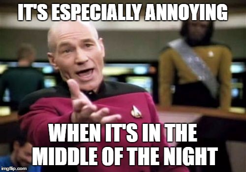 Picard Wtf Meme | IT'S ESPECIALLY ANNOYING WHEN IT'S IN THE MIDDLE OF THE NIGHT | image tagged in memes,picard wtf | made w/ Imgflip meme maker