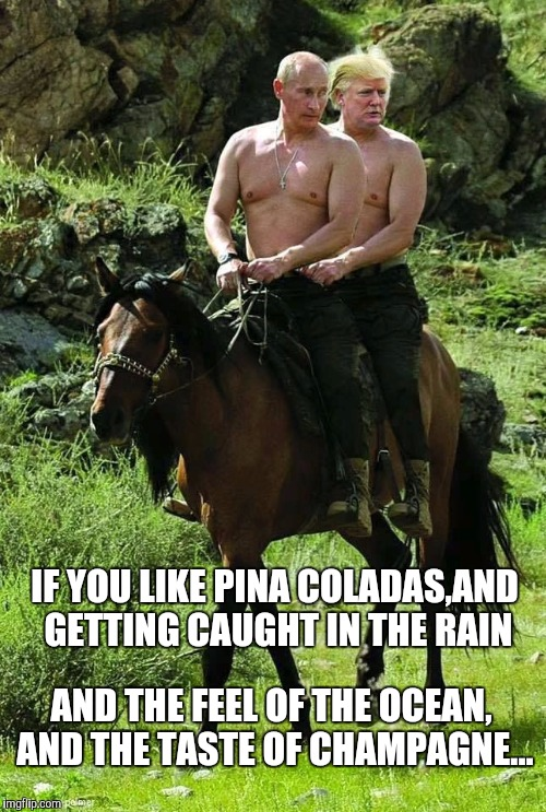 Trump Putin | IF YOU LIKE PINA COLADAS,AND GETTING CAUGHT IN THE RAIN AND THE FEEL OF THE OCEAN, AND THE TASTE OF CHAMPAGNE... | image tagged in trump putin | made w/ Imgflip meme maker