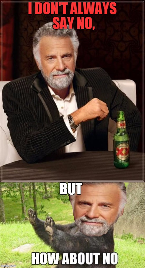 I DON'T ALWAYS SAY NO, BUT | made w/ Imgflip meme maker