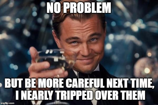 Leonardo Dicaprio Cheers Meme | NO PROBLEM BUT BE MORE CAREFUL NEXT TIME, I NEARLY TRIPPED OVER THEM | image tagged in memes,leonardo dicaprio cheers | made w/ Imgflip meme maker