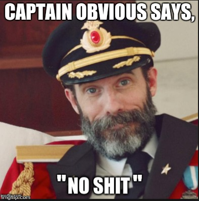 "CAPTAIN OBVIOUS SAYS, ""               "" 