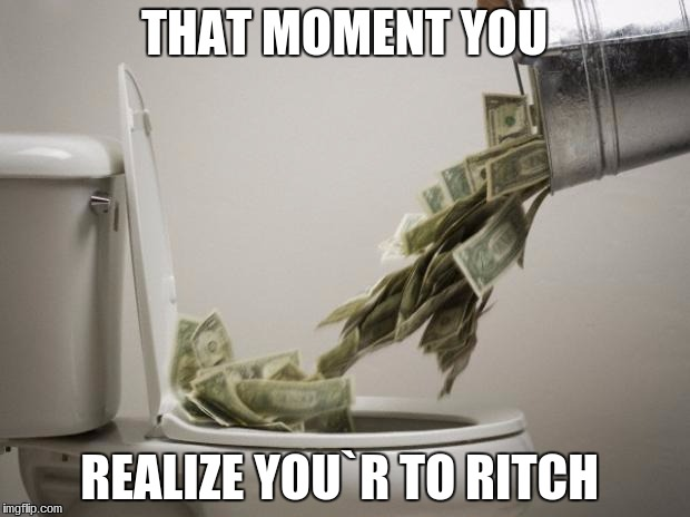 money down toilet |  THAT MOMENT YOU; REALIZE YOU`R TO RITCH | image tagged in money down toilet | made w/ Imgflip meme maker