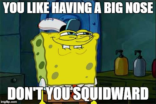 Dont You Squidward Meme | YOU LIKE HAVING A BIG NOSE DON'T YOU SQUIDWARD | image tagged in memes,dont you squidward | made w/ Imgflip meme maker