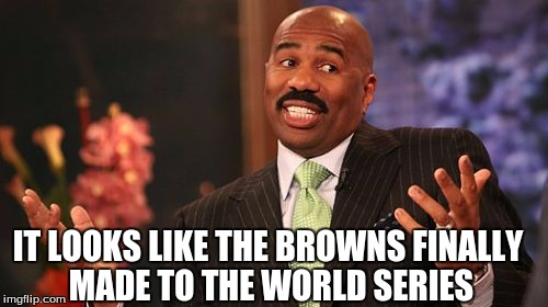 Steve Harvey Meme | IT LOOKS LIKE THE BROWNS FINALLY MADE TO THE WORLD SERIES | image tagged in memes,steve harvey | made w/ Imgflip meme maker