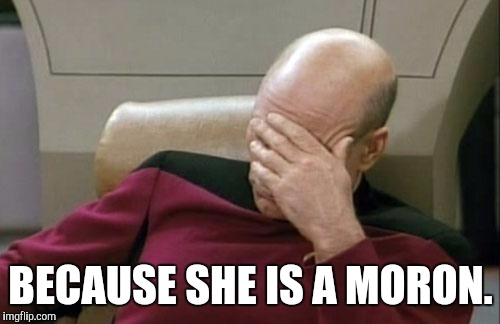 Captain Picard Facepalm Meme | BECAUSE SHE IS A MORON. | image tagged in memes,captain picard facepalm | made w/ Imgflip meme maker