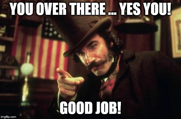 Gangs of new york Butcher | YOU OVER THERE ... YES YOU! GOOD JOB! | image tagged in gangs of new york butcher | made w/ Imgflip meme maker