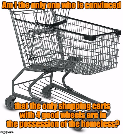Shopping cart | Am I the only one who is convinced that the only shopping carts with 4 good wheels are in the possession of the homeless? | image tagged in shopping cart | made w/ Imgflip meme maker