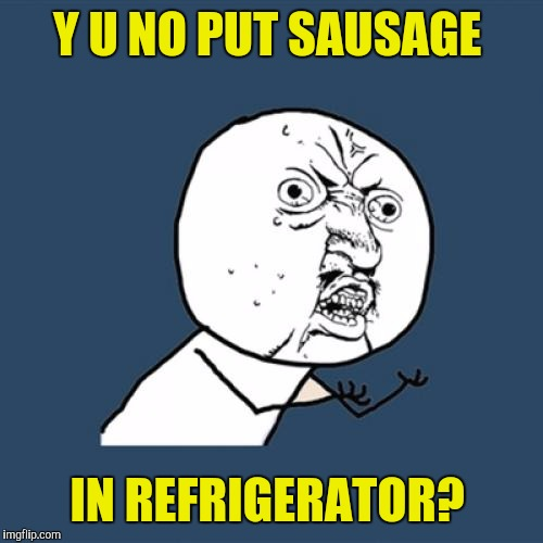 Y U No Meme | Y U NO PUT SAUSAGE IN REFRIGERATOR? | image tagged in memes,y u no | made w/ Imgflip meme maker