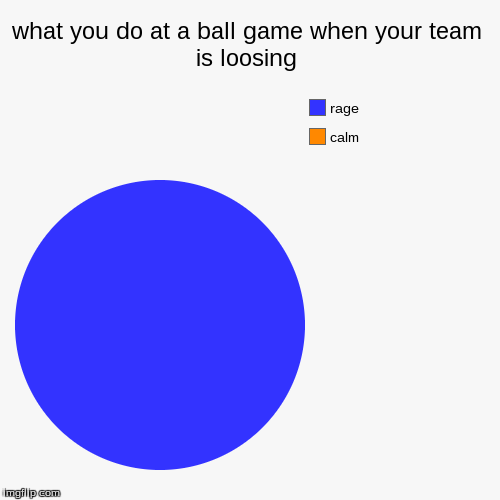 what you do at a ball game when your team is loosing | calm, rage | image tagged in funny,pie charts | made w/ Imgflip chart maker