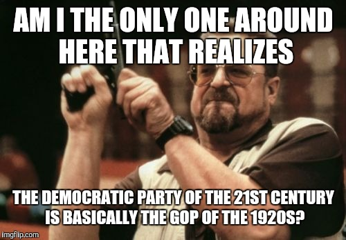 Am I The Only One Around Here Meme | AM I THE ONLY ONE AROUND HERE THAT REALIZES THE DEMOCRATIC PARTY OF THE 21ST CENTURY IS BASICALLY THE GOP OF THE 1920S? | image tagged in memes,am i the only one around here | made w/ Imgflip meme maker