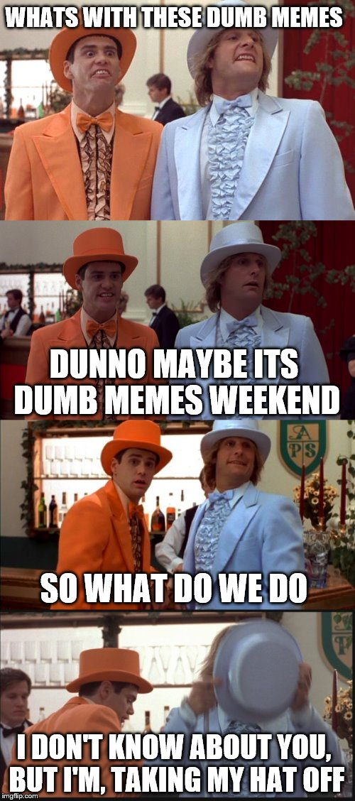 Dumb memes weekend everybody... the race to the bottom has begun!!! | WHATS WITH THESE DUMB MEMES DUNNO MAYBE ITS DUMB MEMES WEEKEND SO WHAT DO WE DO I DON'T KNOW ABOUT YOU, BUT I'M, TAKING MY HAT OFF | image tagged in memes,dumb meme,dumb and dumber,dumb and dumberer | made w/ Imgflip meme maker