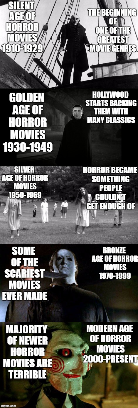 SILENT AGE OF HORROR MOVIES 1910-1929 MODERN AGE OF HORROR MOVIES 2000-PRESENT GOLDEN AGE OF HORROR MOVIES 1930-1949 SILVER AGE OF HORROR MO | image tagged in horror,golden,silent,silver,modern | made w/ Imgflip meme maker