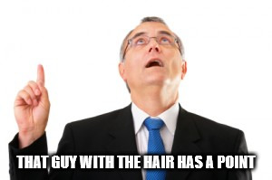 Man Pointing Up | THAT GUY WITH THE HAIR HAS A POINT | image tagged in man pointing up | made w/ Imgflip meme maker