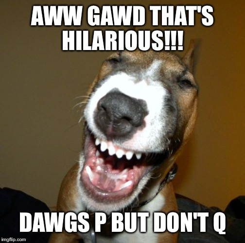 Laughing dog | AWW GAWD THAT'S HILARIOUS!!! DAWGS P BUT DON'T Q | image tagged in laughing dog | made w/ Imgflip meme maker