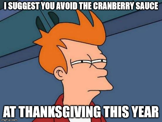 Futurama Fry Meme | I SUGGEST YOU AVOID THE CRANBERRY SAUCE AT THANKSGIVING THIS YEAR | image tagged in memes,futurama fry | made w/ Imgflip meme maker