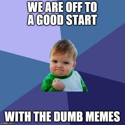 Success Kid Meme | WE ARE OFF TO A GOOD START WITH THE DUMB MEMES | image tagged in memes,success kid | made w/ Imgflip meme maker