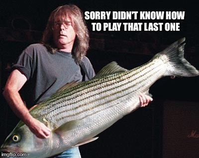 Bass guitar pun | SORRY DIDN'T KNOW HOW TO PLAY THAT LAST ONE | image tagged in bass guitar pun | made w/ Imgflip meme maker