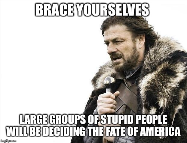 Brace Yourselves X is Coming Meme | BRACE YOURSELVES LARGE GROUPS OF STUPID PEOPLE WILL BE DECIDING THE FATE OF AMERICA | image tagged in memes,brace yourselves x is coming | made w/ Imgflip meme maker