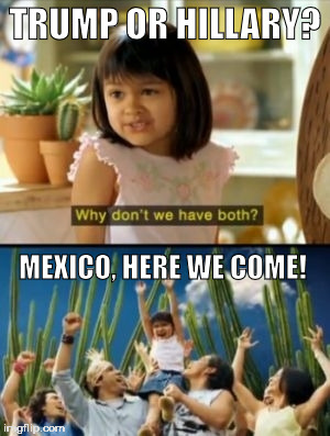 geez, this girl is smart! | TRUMP OR HILLARY? MEXICO, HERE WE COME! | image tagged in memes,why not both | made w/ Imgflip meme maker