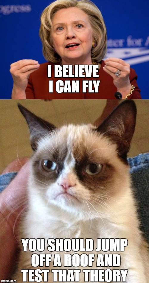 I Believe i can fly  | I BELIEVE I CAN FLY YOU SHOULD JUMP OFF A ROOF AND TEST THAT THEORY | image tagged in grumpy cat,hillary clinton,memes | made w/ Imgflip meme maker