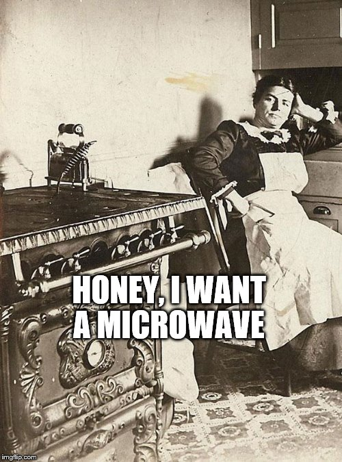 victorian kitchen | HONEY, I WANT A MICROWAVE | image tagged in victorian kitchen | made w/ Imgflip meme maker
