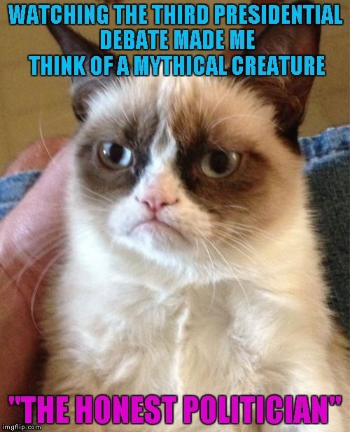 "Neither one of them was being honest, but then, an honest politician is an oxymoron anyways right? | WATCHING THE THIRD PRESIDENTIAL DEBATE MADE ME THINK OF A MYTHICAL CREATURE ""THE HONEST POLITICIAN"" 