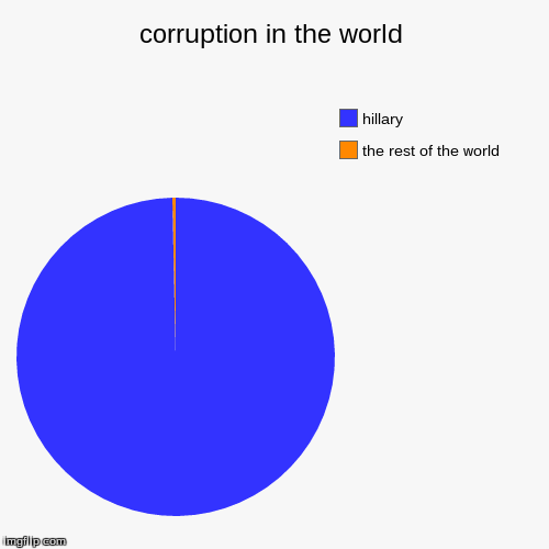 corruption in the world | the rest of the world, hillary | image tagged in funny,pie charts | made w/ Imgflip pie chart maker