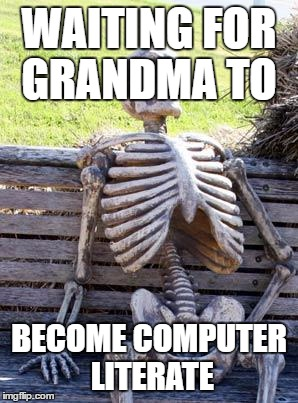 Waiting Skeleton Meme | WAITING FOR GRANDMA TO BECOME COMPUTER LITERATE | image tagged in memes,waiting skeleton | made w/ Imgflip meme maker