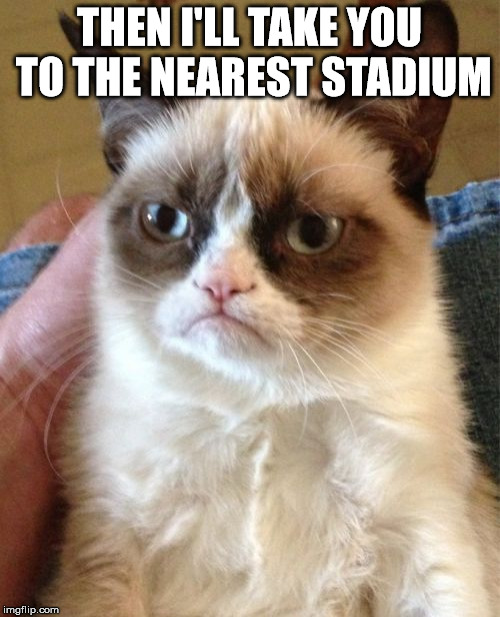 Grumpy Cat Meme | THEN I'LL TAKE YOU TO THE NEAREST STADIUM | image tagged in memes,grumpy cat | made w/ Imgflip meme maker
