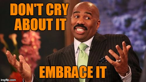 Steve Harvey Meme | DON'T CRY ABOUT IT EMBRACE IT | image tagged in memes,steve harvey | made w/ Imgflip meme maker