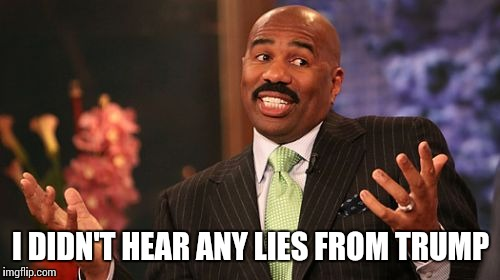 Steve Harvey Meme | I DIDN'T HEAR ANY LIES FROM TRUMP | image tagged in memes,steve harvey | made w/ Imgflip meme maker