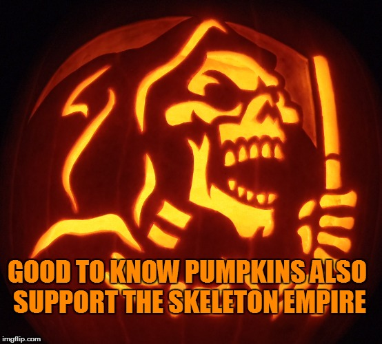 GOOD TO KNOW PUMPKINS ALSO SUPPORT THE SKELETON EMPIRE | made w/ Imgflip meme maker
