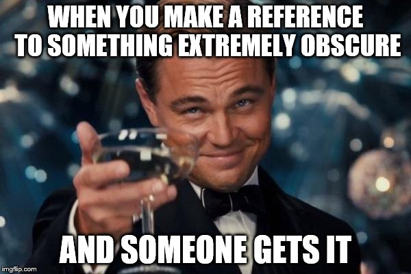 Leonardo Dicaprio Cheers Meme | WHEN YOU MAKE A REFERENCE TO SOMETHING EXTREMELY OBSCURE AND SOMEONE GETS IT | image tagged in memes,leonardo dicaprio cheers | made w/ Imgflip meme maker